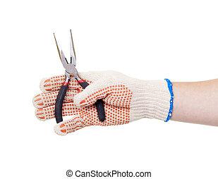針, 労働者, 手, 鼻の保有物, プライヤー