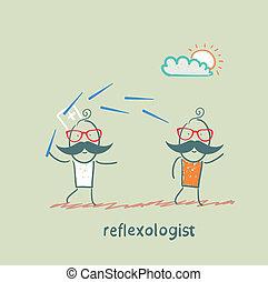 針, 患者, reflexologist, 仕事