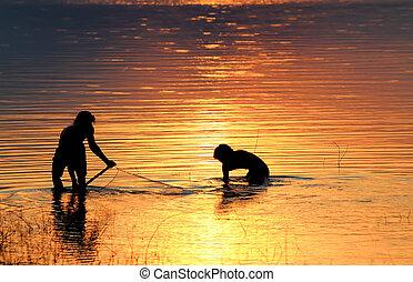 釣りネット, 日没
