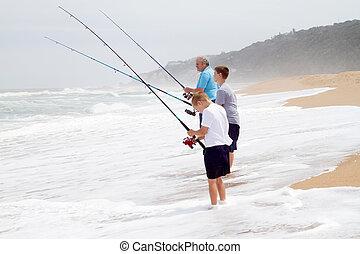 釣り, 孫, おじいさん