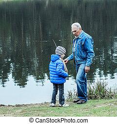 釣り, 孫, 祖父