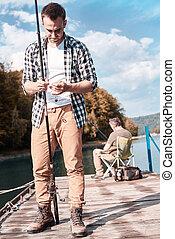 釣り, 成人, 突堤, 孫, 祖父