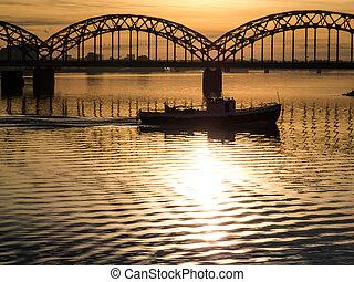 釣り, 渡ること, ボート, 橋