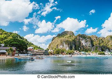 釣り, 港, el nido, 朝, 村, palawan, フィリピン