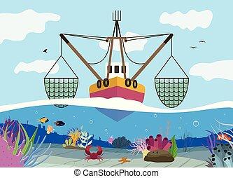 釣り, 背景, 平ら
