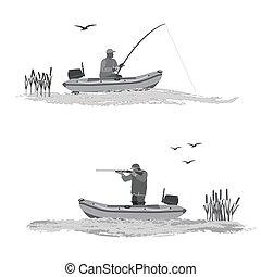 釣り, 膨らませることができるボート, 捜索