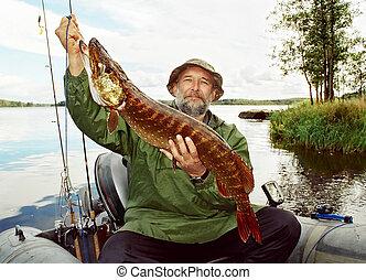 釣魚者, 湖, 小船, fish, 抓住, 釣魚, 大, 梭子魚