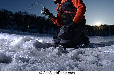 釣魚, 冬天冰, 湖