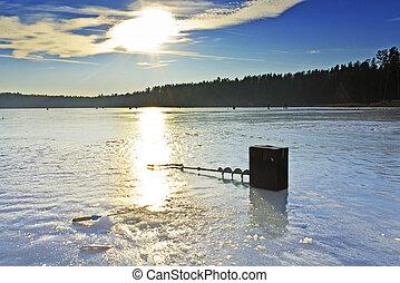 釣魚, 湖, 冬天