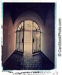 鉄のゲート, 先導, ライトへ, polaroid, イメージ転送, 上に, 水彩画, ペーパー