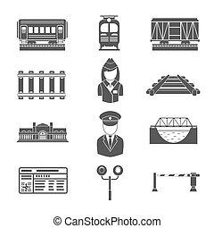 鉄道, セット, 黒, アイコン