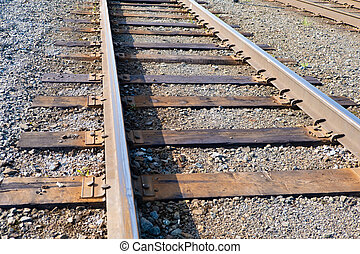 鉄道, 石, 上に, 錆ついた, 細部, 列車, 鉄, 暗い