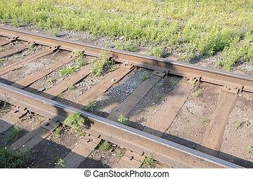鉄, 上に, 石, 鉄道, 細部, 錆ついた, 暗い, 列車
