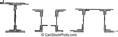 鉄, 型, 橋, ビーム, タイプ, engraving.