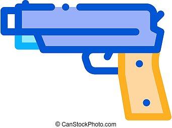 鉄, 銃, 射撃, アイコン, イラスト, アウトライン