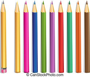 鉛の鉛筆, そして, 色, 鉛筆, vecto