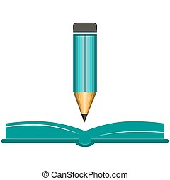 鉛筆, きれいにしなさい, 本, 緑, シート, 開いた