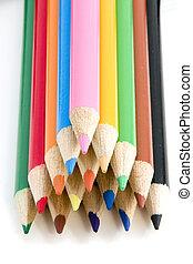 鉛筆, すべて, 着色, -, フォーカス, ピラミッド