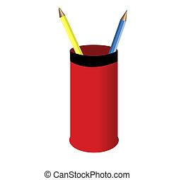 鉛筆, そして, ブラシ, 中に, a, 赤, ガラス。