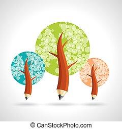 鉛筆, について, 教育, 木