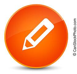 鉛筆, アイコン, 優雅である, オレンジ, ラウンド, ボタン