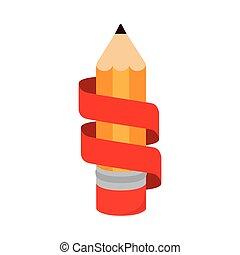 鉛筆, アイコン, 隔離された, リボン, 執筆