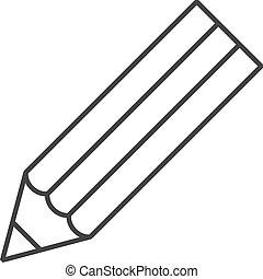 鉛筆, -, アウトライン, アイコン