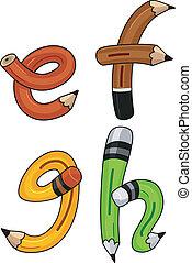 鉛筆, アルファベット