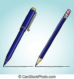 鉛筆, イラスト, ペン