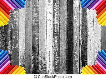 鉛筆, カラフルである, 抽象的, 白, 木, 黒い背景, コーナー, 荒い, 板