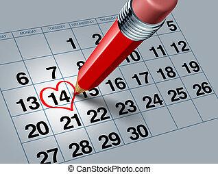 鉛筆, カレンダー, 赤, バレンタイン