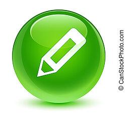鉛筆, ガラス状, ボタン, 緑, ラウンド, アイコン