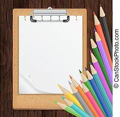鉛筆, クリップボード, カラフルである