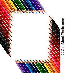 鉛筆, クレヨン, 作られた, フレーム, 有色人種, から