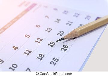 鉛筆, クローズアップ, calendar.