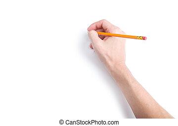 鉛筆, コピースペース, 手