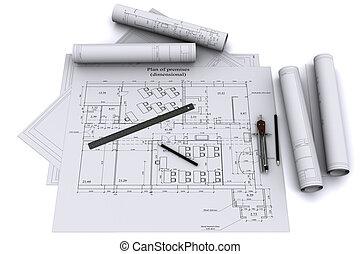 鉛筆, コンパス, 図画, 建築である, 定規