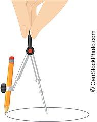 鉛筆, コンパス, 手を持つ