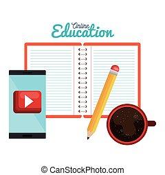 鉛筆, コーヒーカップ, ノート, デザイン, 電話, 痛みなさい