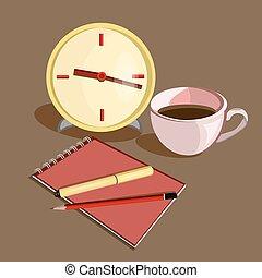 鉛筆, コーヒー, ビジネス, カップ, 時計, 仕事場, pen.