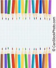 鉛筆, シート, ペーパーを彩色しなさい, borders., ベクトル, 横列