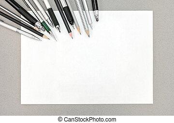 鉛筆, シート, 灰色, 上, ペーパー, 背景, 空, 光景