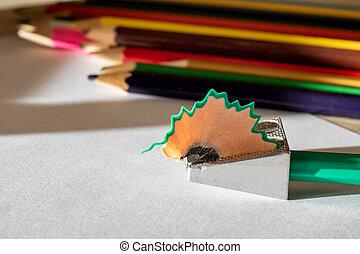 鉛筆, シート, sharpener, の上, ペーパー, 終わり