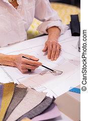 鉛筆, スケッチ, デザイナー, 責任者, 女性, 使用法, 作成, シニア