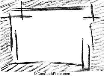 鉛筆, スケッチ, フレーム, 空