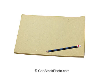 鉛筆, スケッチ, 古い, 隔離された, 本, 背景, ブランク, 白