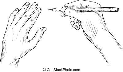 鉛筆, スケッチ, 図画, 手