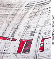 鉛筆, スケッチ, 抽象的, -, デザイン, 背景