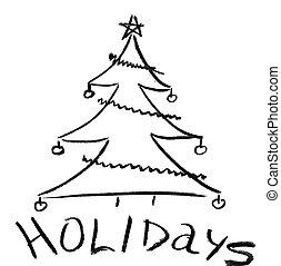 鉛筆, スケッチ, 木, クリスマス