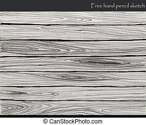 鉛筆, スケッチ, 木, 背景